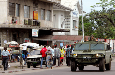 EU peacekeepers patrol the streets of the Democratic Republic of Congo's capital Kinshasa