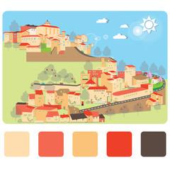 City on hill downtown landscape illustrations vector design