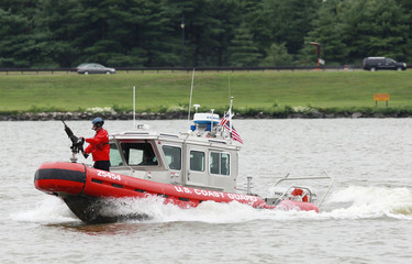A U.S. Coast Guard boat participates in a training exercise on the Potomac River in Washington