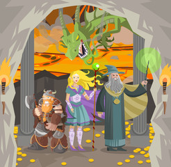 role fantasy characters dwarf wizard and elf in dragon lair