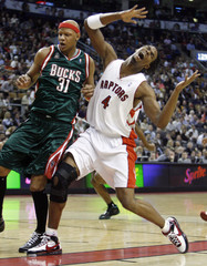 Toronto Raptors forward Bosh during the first half of their NBA basketball game against the Bucks in Toronto