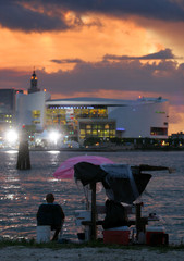 US Air Arena in Miami at sunset.