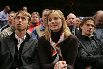 Actress Cattrall watches the Lakers versus the Knicks NBA game at Madison Square Garden in New York