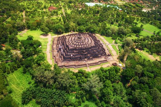 Borobudur Temple Aerial View, Central Java, Indonesia