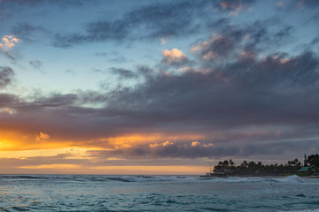 Beautiful sunset time on hawaiian beach with ocean view seascape
