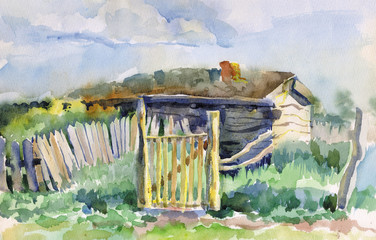 Watercolor landscape with old abandoned house
