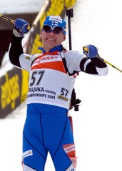 WINNER PAAVO PUURUNEN OF FINLAND CROSSES THE FINISH DURING MEN'S 20KM INDIVIDUAL BIATHLON WORLD ...
