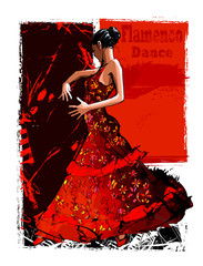 Poster de jardin Art Studio Flamenco spanish dancer woman