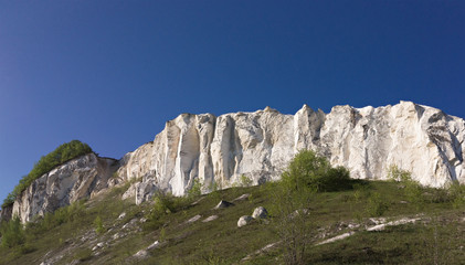 The output of chalky breeds overgrown with bush, on the background the blue sky. Central Russia