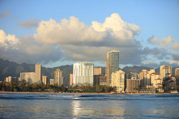 Waikiki beach viewf from ocean to coastline with buildings