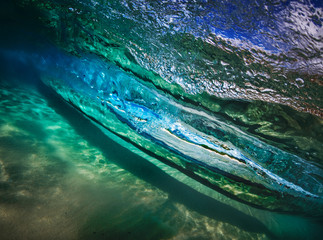 Ocean water in wave shape underwater view