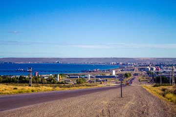 Urban landscape of Puerto Madryn, Patagonia, Argentina, South America.