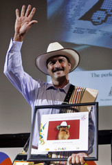 Castaneda who acts as Colombia's fictional coffee icon Juan Valdez in advertisements for the Colombia's National Federation of Coffee Growers is awarded with the first Ibero-American Hall of Fame prize in Buenos Aires