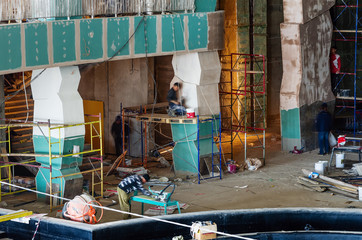 """Construction works, interior finishing / Photo taken at the construction of the water park """"Limpopo"""" in the city of Orenburg. Russia. 04/21/2012"""