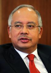 Malaysian Deputy Prime Minister Najib Razak speaks to Reuters in Kuala Lumpur.