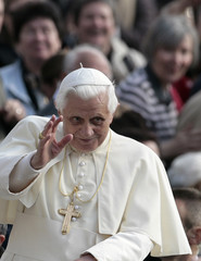 Pope Benedict XVI arrives for a weekly general audience at Saint Peter's square at the Vatican