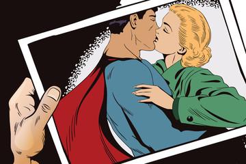 Superhero says goodbye to girl.Stock illustration.