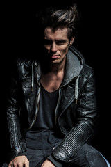 portrait of a punk in leather jacket