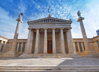 Athens Greece, the national academy neoclassical building with Athena and Apollo statues