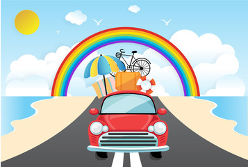 Travel by car. Flat design with Summer