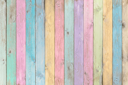 colorful pastel wood planks texture or background