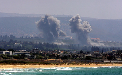 Smoke rises after Israeli air strike on outskirts of southern port city of Tyre