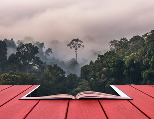 Conceptual book image of beautiful scenary of mist with mountain range at PanoenThung view point in Kaeng Krachan national park,Thailand