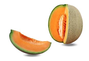 Melon on white background.