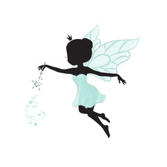 Silhouette of beautiful fairy. She has a magic wand in her hand. She is in a blue gentle, air dress.