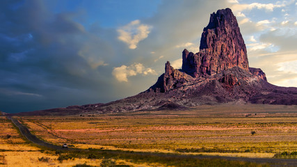 El Capitan Stands Watch on the Road to Monument Valley