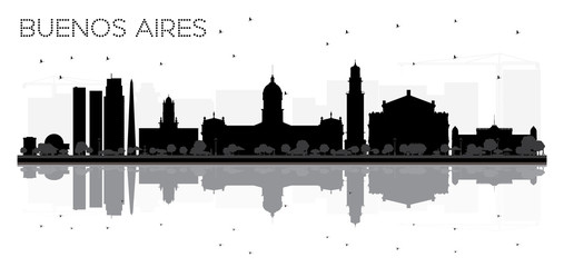 Buenos Aires skyline black and white silhouette with reflections.