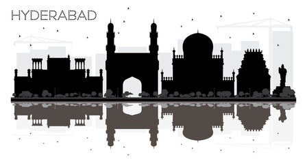 Hyderabad City skyline black and white silhouette with reflections. Fototapete