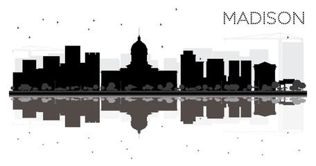 Madison City skyline black and white silhouette with reflections.