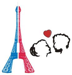 Paris, france, eiffel tower, symbol, illustration, cartoon,  mettal, famous, tower, silhouette, travel, city, french, parisian, couple, love, heart