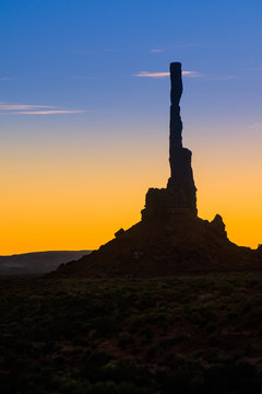 The Totem Pole in Silhouette at Dawn