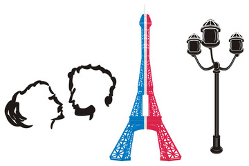 Paris, france, eiffel tower, symbol, illustration, cartoon,  mettal, famous, tower, silhouette, travel, city, french, parisian,  couple, love, in love, street lamp
