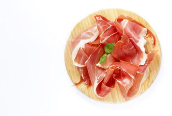 Smoked Parma ham on a wooden board