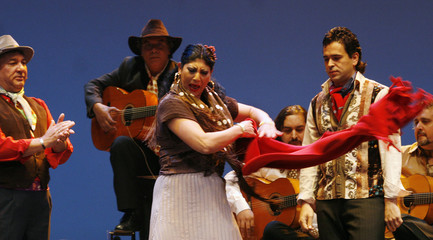 """Spanish flamenco dancers perform a choreography of her show """"Romali"""" during a media rehearsal in Madrid"""