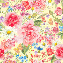 Watercolor seamles pattern with roses