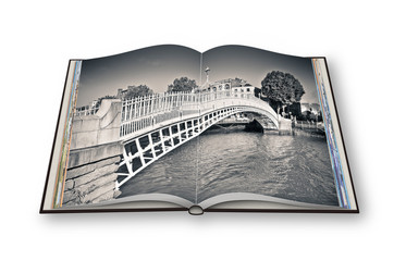 """The most famous bridge in Dublin called """"Half penny bridge"""" due to the toll charged for the passage - 3D render opened photo book - I'm the copyright owner of the images used in this 3D render."""