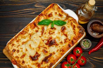 Lasagna in baking dish