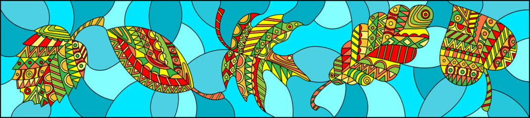 Illustration in stained glass style with patterned autumn leaves on turquoise background , horizontal orientation