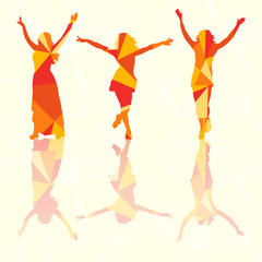 isolated silhouette of a girl dancing, colorful