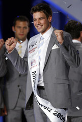Newly crowned Mister Switzerland 2009 Reithebuch celebrates during the Mister Switzerland 2009 pageant in Lugano