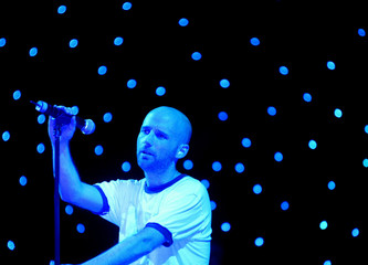 AMERICAN MUSICIAN MOBY PLAYS THE FINAL SLOT ON THE PYRAMID STAGE AT THEGLASTONBURY FESTIVAL.