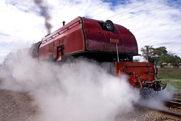 THE MOUNT GELAI STEAM TRAIN PASSES THE ATHI RIVER STATION.