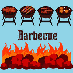Different kind of meat on the grill illustration. picnic or Bbq party. Food and barbecue, summer and grill