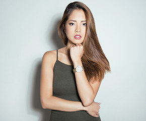 beautiful young asian woman wearing wrist watch