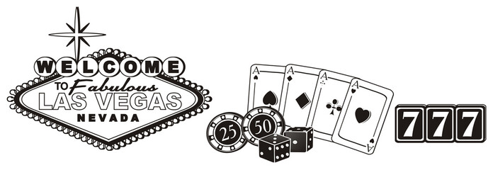 Las vegas, casino,  America, USA, illustration, cartoon, symbol, city, poker, city of sins,  travel, famous , illustration, 777, cards, dice, chips, signboard, black and white
