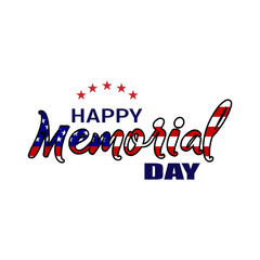 Happy Memorial Day, Hand letterind greeting card, National american holiday